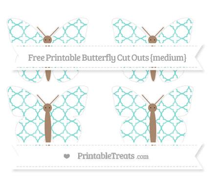 Free Tiffany Blue Quatrefoil Pattern Medium Butterfly Cut Outs