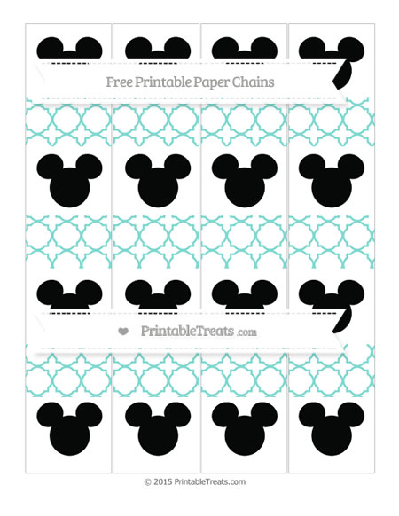 Free Tiffany Blue Quatrefoil Pattern Mickey Mouse Paper Chains