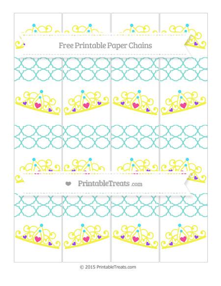 Free Tiffany Blue Quatrefoil Pattern Princess Tiara Paper Chains