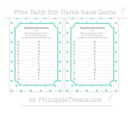 Free Tiffany Blue Star Pattern Baby Boy Name Race Game