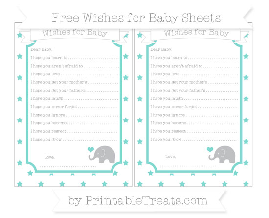 Free Tiffany Blue Star Pattern Baby Elephant Wishes for Baby Sheets