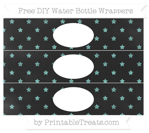 Free Tiffany Blue Star Pattern Chalk Style DIY Water Bottle Wrappers