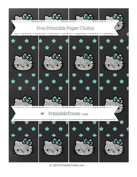 Free Tiffany Blue Star Pattern Chalk Style Hello Kitty Paper Chains