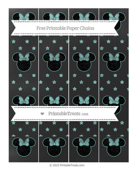 Free Tiffany Blue Star Pattern Chalk Style Minnie Mouse Paper Chains