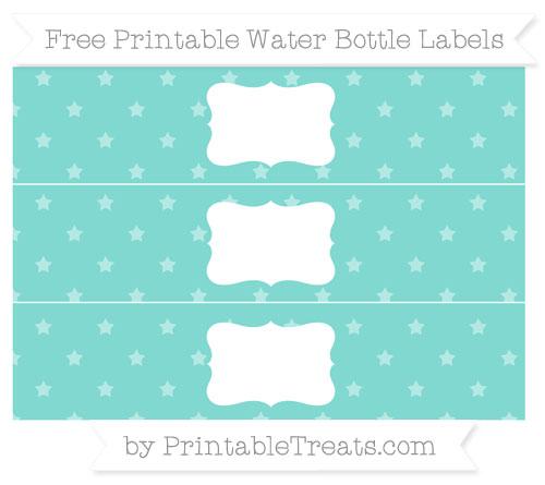 Free Tiffany Blue Star Pattern Water Bottle Labels