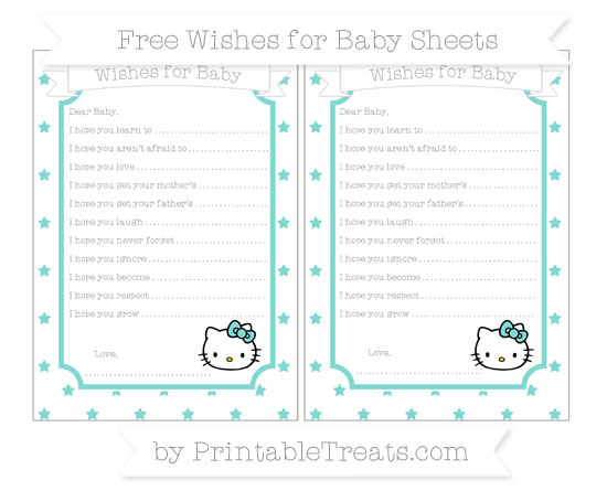 Free Tiffany Blue Star Pattern Hello Kitty Wishes for Baby Sheets