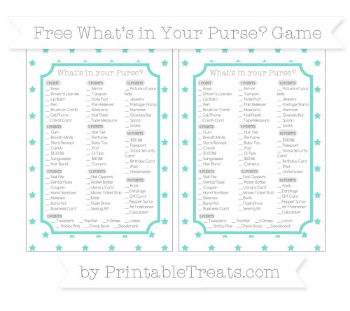 Free Tiffany Blue Star Pattern What's in Your Purse Baby Shower Game