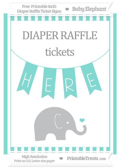 Free Tiffany Blue Striped Baby Elephant 8x10 Diaper Raffle Ticket Sign