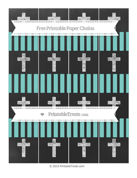 Free Tiffany Blue Striped Chalk Style Cross Paper Chains