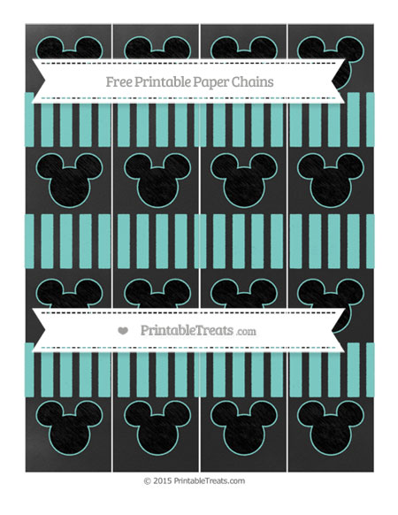 Free Tiffany Blue Striped Chalk Style Mickey Mouse Paper Chains