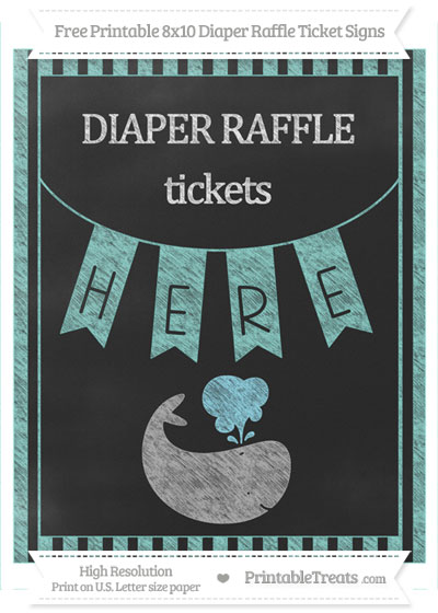 Free Tiffany Blue Striped Chalk Style Whale 8x10 Diaper Raffle Ticket Sign
