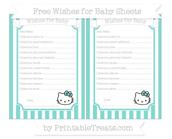 Free Tiffany Blue Striped Hello Kitty Wishes for Baby Sheets