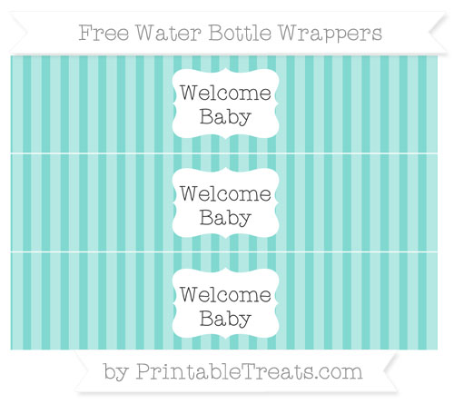 Free Tiffany Blue Striped Welcome Baby Water Bottle Wrappers