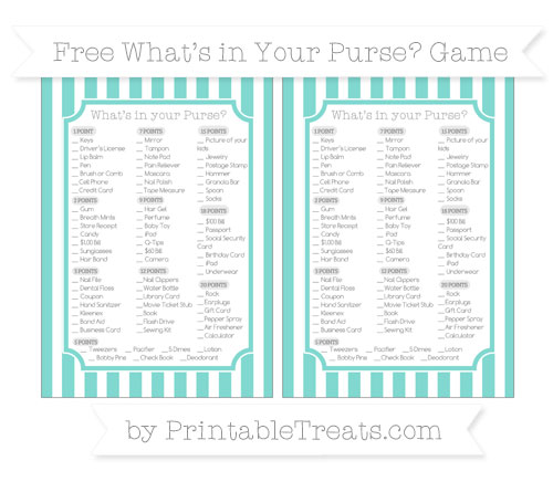 Free Tiffany Blue Striped What's in Your Purse Baby Shower Game