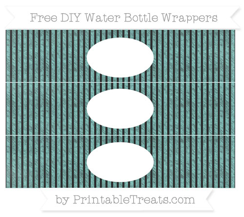 Free Tiffany Blue Thin Striped Pattern Chalk Style DIY Water Bottle Wrappers