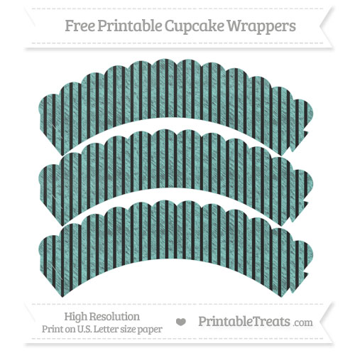 Free Tiffany Blue Thin Striped Pattern Chalk Style Scalloped Cupcake Wrappers