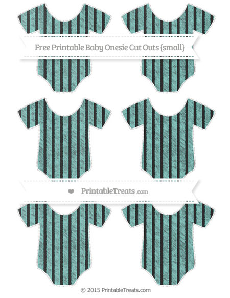 Free Tiffany Blue Thin Striped Pattern Chalk Style Small Baby Onesie Cut Outs