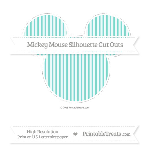 Free Tiffany Blue Thin Striped Pattern Extra Large Mickey Mouse Silhouette Cut Outs