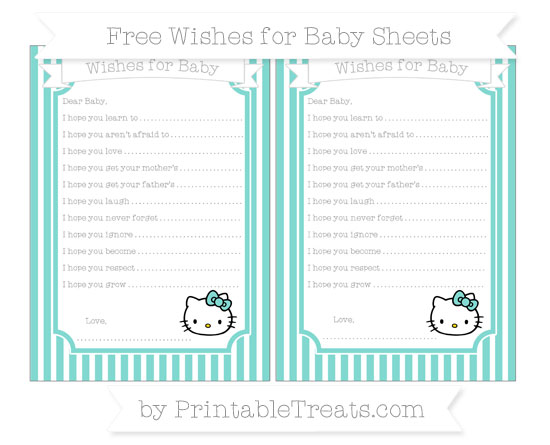 Free Tiffany Blue Thin Striped Pattern Hello Kitty Wishes for Baby Sheets