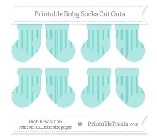 Free Tiffany Blue Thin Striped Pattern Small Baby Socks Cut Outs
