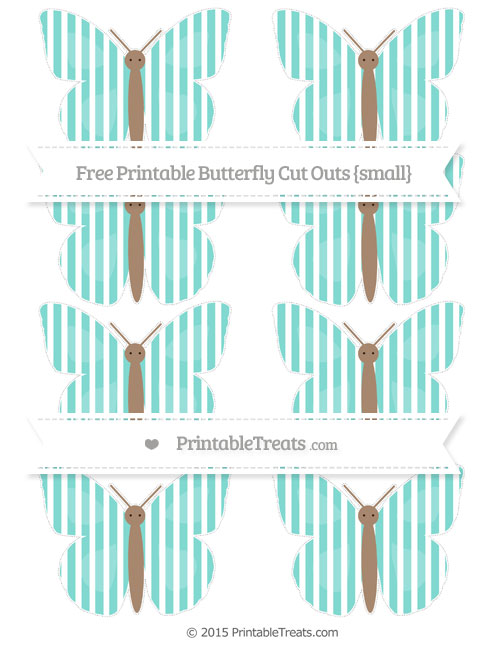 Free Tiffany Blue Thin Striped Pattern Small Butterfly Cut Outs