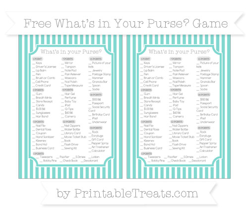 Free Tiffany Blue Thin Striped Pattern What's in Your Purse Baby Shower Game