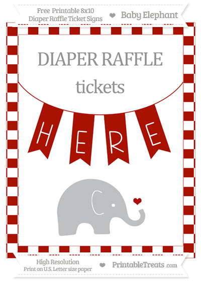 Free Turkey Red Checker Pattern Baby Elephant 8x10 Diaper Raffle Ticket Sign
