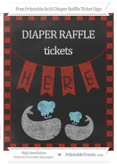 Free Turkey Red Checker Pattern Chalk Style Baby Whale 8x10 Diaper Raffle Ticket Sign