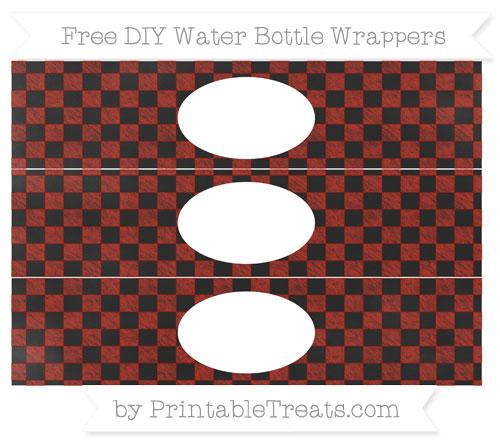 Free Turkey Red Checker Pattern Chalk Style DIY Water Bottle Wrappers