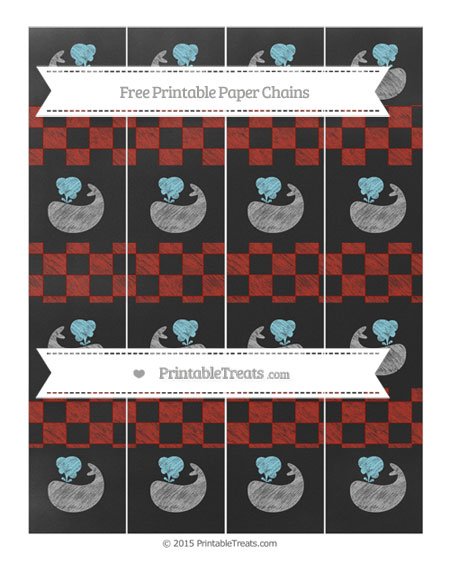 Free Turkey Red Checker Pattern Chalk Style Whale Paper Chains