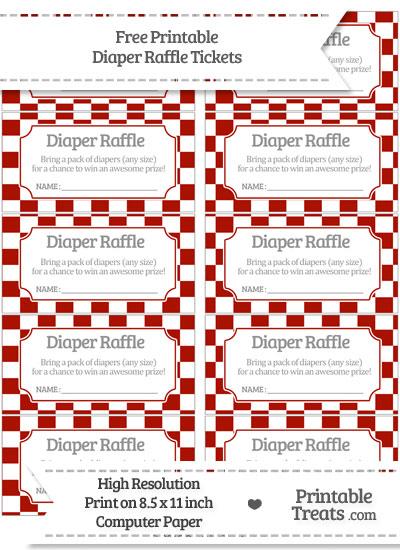 Free Turkey Red Checker Pattern Diaper Raffle Tickets