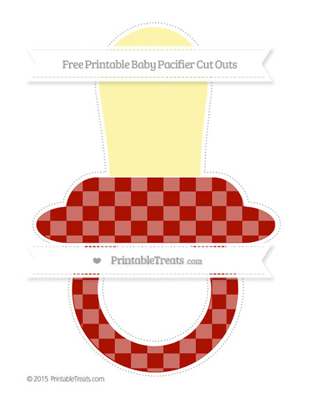 Free Turkey Red Checker Pattern Extra Large Baby Pacifier Cut Outs