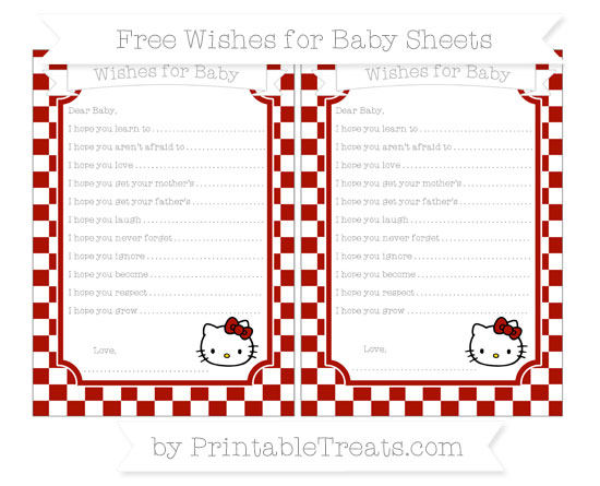 Free Turkey Red Checker Pattern Hello Kitty Wishes for Baby Sheets
