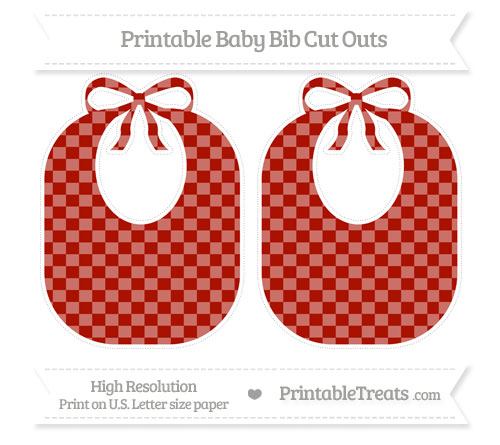 Free Turkey Red Checker Pattern Large Baby Bib Cut Outs