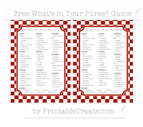Free Turkey Red Checker Pattern What's in Your Purse Baby Shower Game