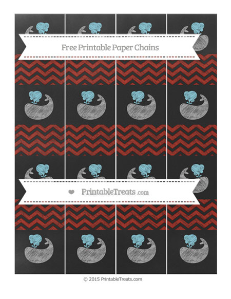 Free Turkey Red Chevron Chalk Style Whale Paper Chains
