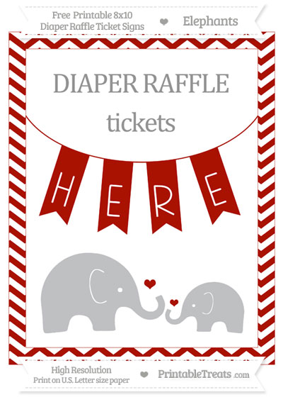 Free Turkey Red Chevron Elephant 8x10 Diaper Raffle Ticket Sign