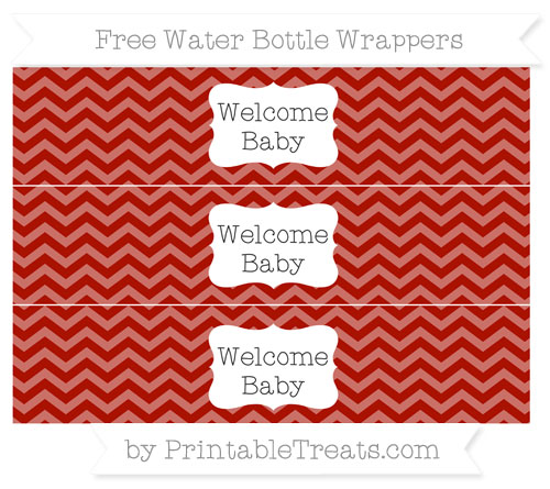 Free Turkey Red Chevron Welcome Baby Water Bottle Wrappers