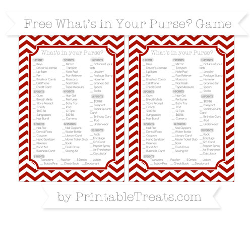 Free Turkey Red Chevron What's in Your Purse Baby Shower Game