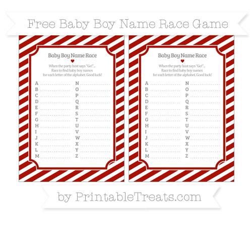 Free Turkey Red Diagonal Striped Baby Boy Name Race Game