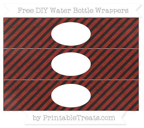 Free Turkey Red Diagonal Striped Chalk Style DIY Water Bottle Wrappers