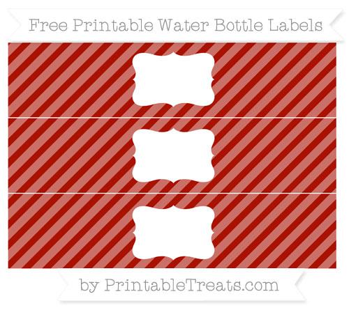Free Turkey Red Diagonal Striped Water Bottle Labels