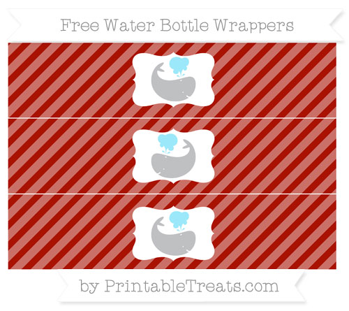 Free Turkey Red Diagonal Striped Whale Water Bottle Wrappers