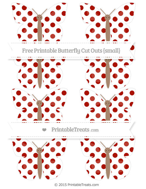 Free Turkey Red Dotted Pattern Small Butterfly Cut Outs