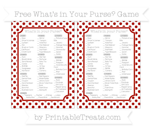 Free Turkey Red Dotted Pattern What's in Your Purse Baby Shower Game
