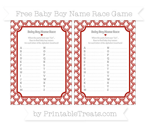 Free Turkey Red Fish Scale Pattern Baby Boy Name Race Game