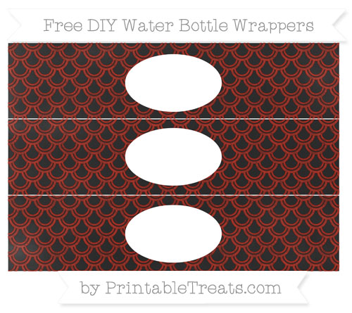 Free Turkey Red Fish Scale Pattern Chalk Style DIY Water Bottle Wrappers