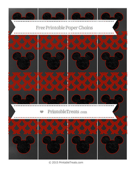 Free Turkey Red Fish Scale Pattern Chalk Style Mickey Mouse Paper Chains