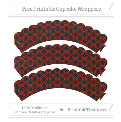 Free Turkey Red Fish Scale Pattern Chalk Style Scalloped Cupcake Wrappers