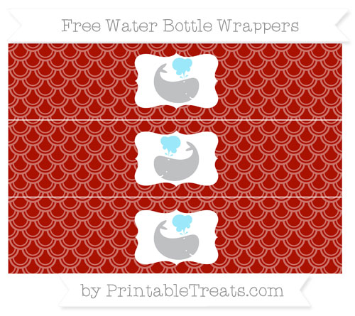 Free Turkey Red Fish Scale Pattern Whale Water Bottle Wrappers